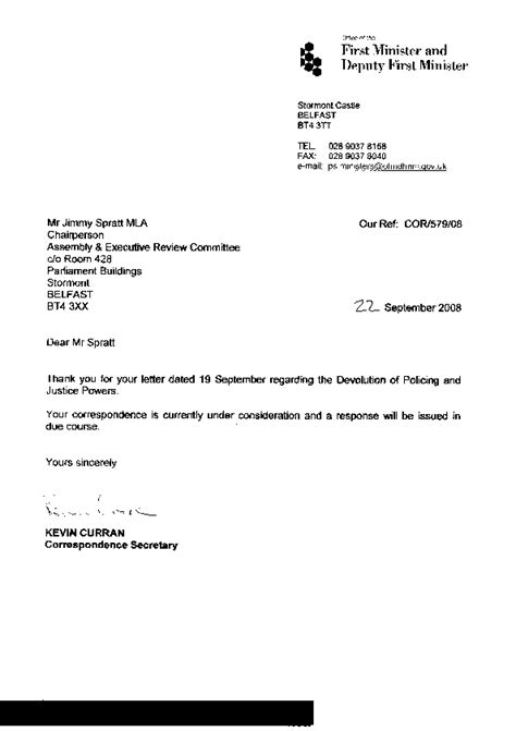 Resignation Letter During Probation Period by Welcome To The Northern Ireland Assembly