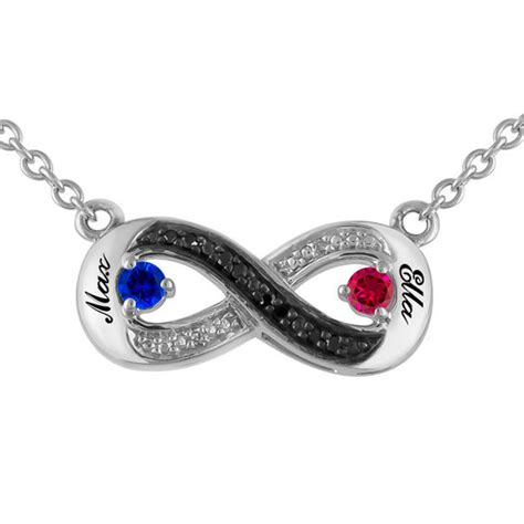 s birthstone and accent infinity necklace
