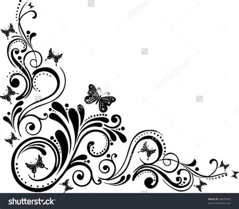 floral design background vector black and white clipartsgram com