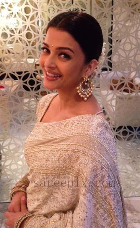 aishwarya rai sari aishwarya rai in white saree at kalyan jewellers