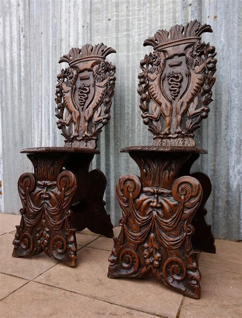 sgabello vintage antique italian carved oak sgabello chairs set of 2 for