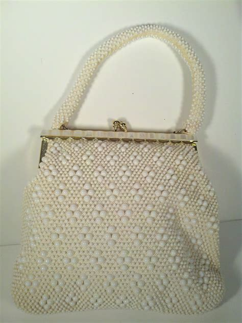 vintage beaded handbags vintage retro beaded purse white faux pearls bag ebay