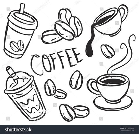 doodle coffee set coffee doodle stock vector 118918948