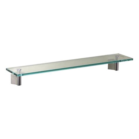 Chrome And Glass Bathroom Shelves Shop Gatco Bleu Chrome Glass Bathroom Shelf At Lowes