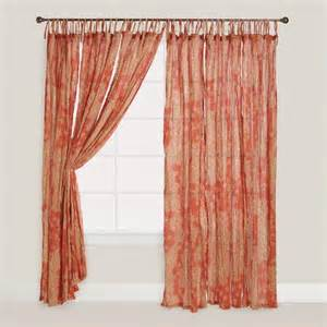 Sheer Coral Curtains Coral Bamboo Print Tie Top Crinkle Voile Curtains Set Of 2 World Market