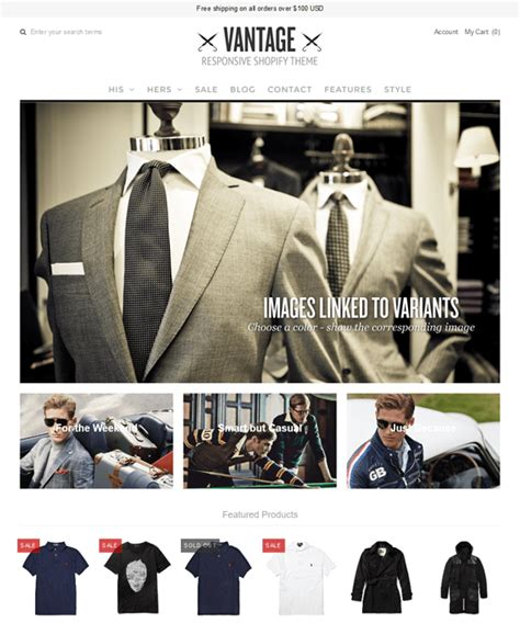 shopify themes vantage 18 of the best shopify themes for men s clothing