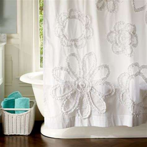 white floral shower curtain ruffle flower shower curtain pbteen