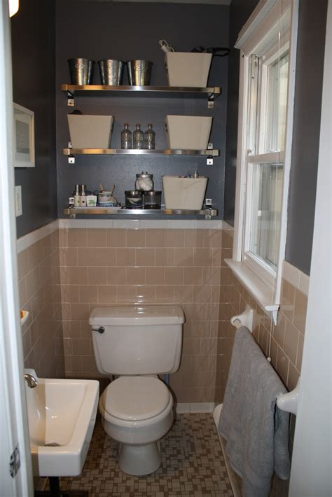 grey and peach bathroom peach tile bathroom with grey walls plus fun shiny shelves