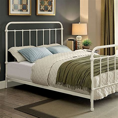 King Size Bed Frame And Mattress Set Iria Contemporary Vintage Style Rustic White Finish King