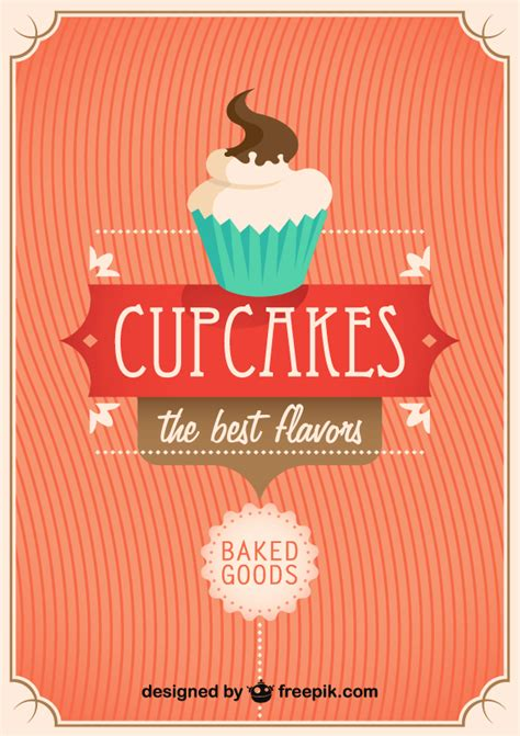 Free Vintage Poster Templates by Vector Retro Cupcake Poster Design Template 123freevectors