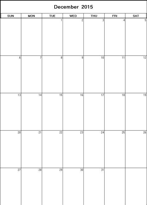 Blank Calendar December 2015 December 2015 Printable Blank Calendar
