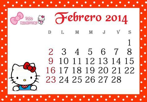 de febrero de 2014 calendario febrero 2014 de hello kitty todo hello kitty