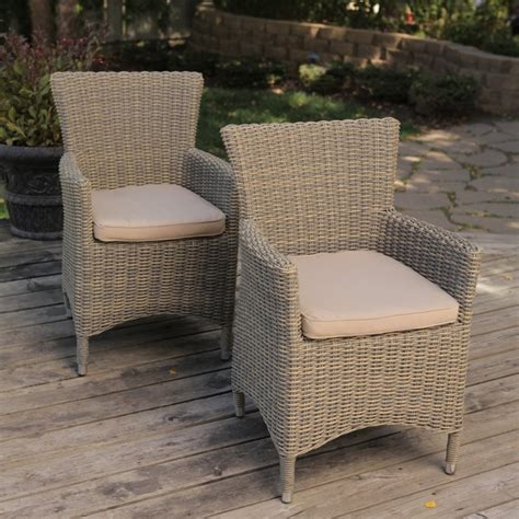 all weather wicker patio dining chair set of 2