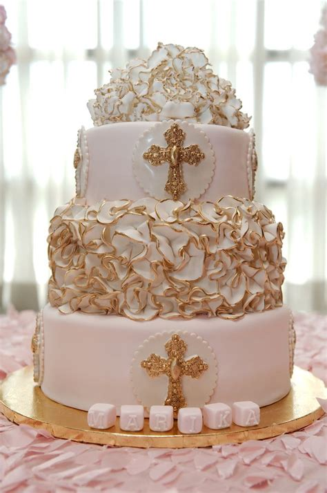 Baptism Cakes by Baby Pink And Ivory Baptism Cake Dop
