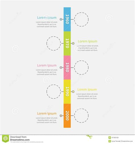 vertical template timeline vertical ribbon infographic with empty dash line