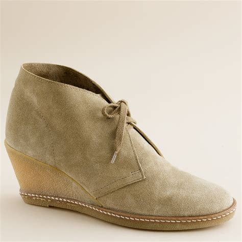 j crew macalister wedge boots in brown lyst