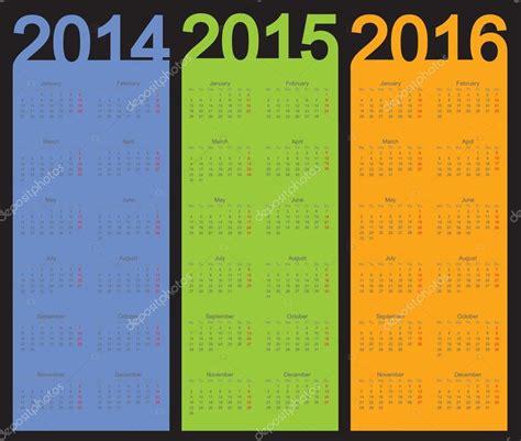 2014 And 2015 And 2016 Calendar Simple Calendar Year 2014 2015 2016 Vector Stock