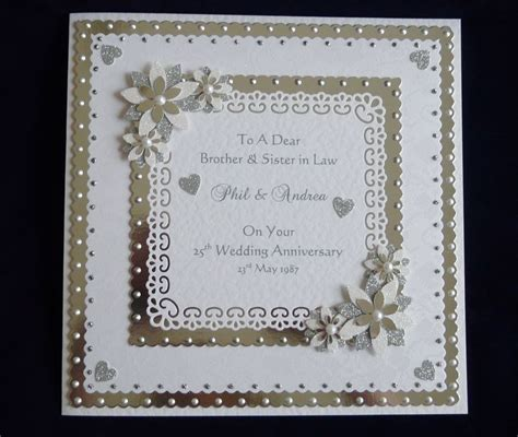 Wedding Anniversary Cards Handmade - personalised silver or 25th 60th wedding