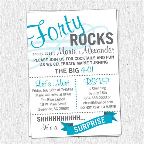 printable forty rocks birthday party bash invitation