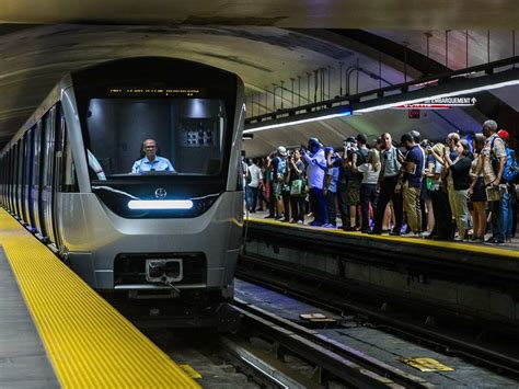 car upholstery montreal passengers can board first new montreal m 233 tro train