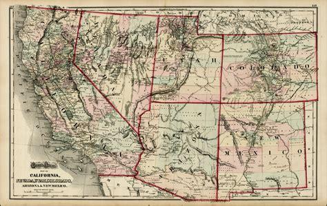 map of new mexico and colorado gray s atlas map of california nevada utah colorado