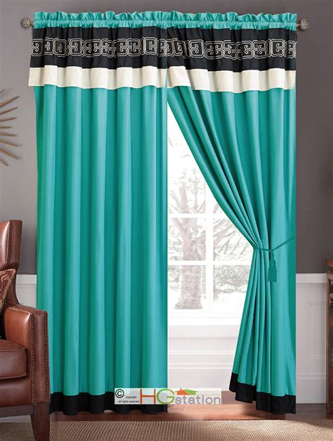 black and turquoise curtains 4pc greek key meander motif embroidery curtain set