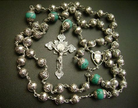 silver bead sterling silver cross handmade rosary box stations