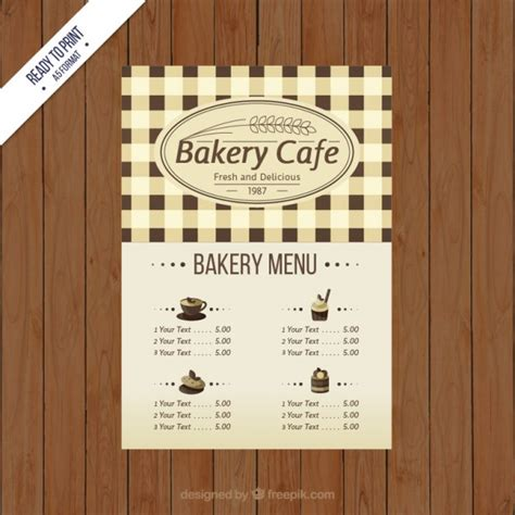 bakery cafe menu template vector free download