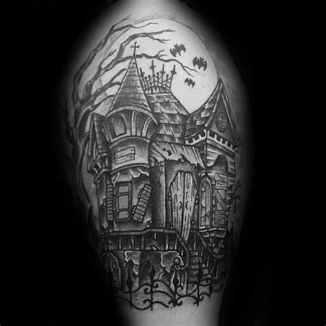 haunted house design ideas 60 haunted house tattoo designs for men spooky spot ink ideas
