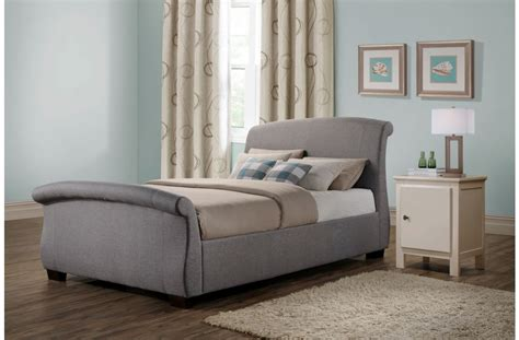 Bed Fabric Kingsize Bed Frame Grey Next Day Delivery Birlea Barcelona 5ft King Size Fabric Sleigh Bed Frame In Grey Beds Direct Warehouse