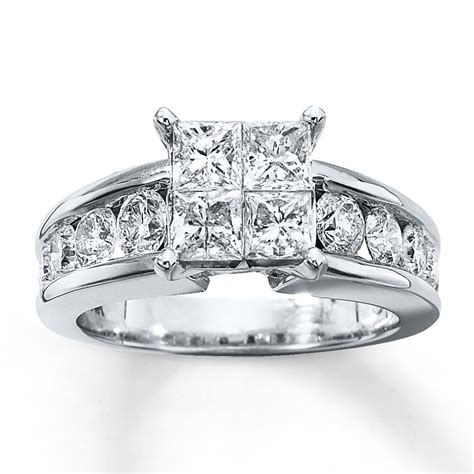 engagement ring 2 1 2 ct tw 14k white gold