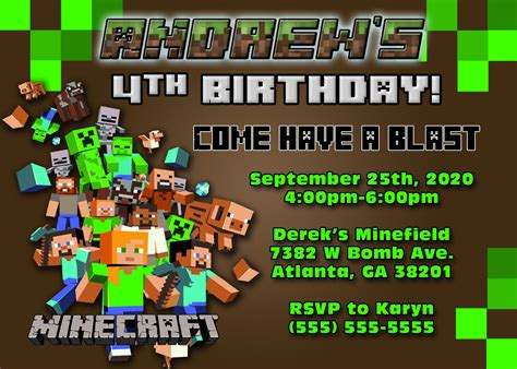 minecraft birthday invitation card template minecraft birthday invitations minecraft birthday