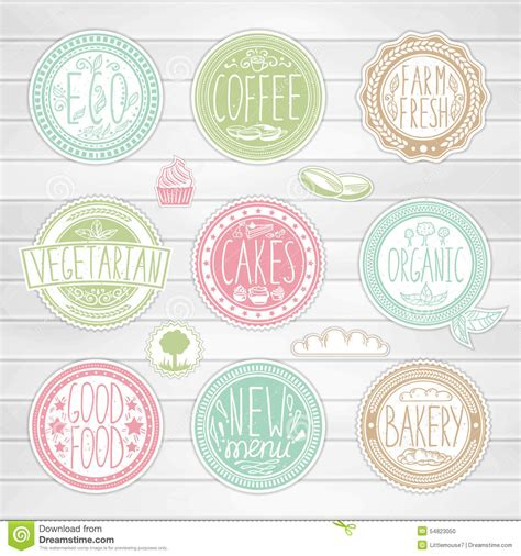 Set Of Colored Labels Vector Free Set Of Retro Badges Vintage Food Labels