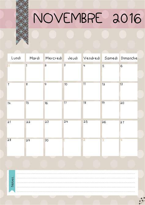 Calendrier De Novembre Diy Calendrier 2016 Gratuit 224 Imprimer