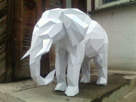 Paper Craft Elephant - animal paper model elephant free papercraft