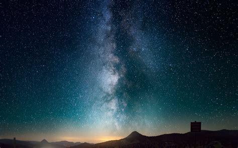 wallpaper starry sky night road