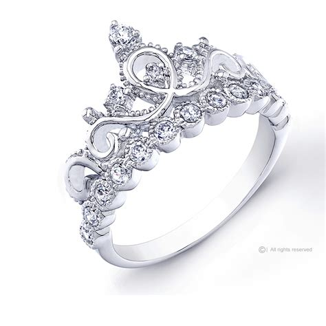 rhodium plated 925 sterling silver princess crown ring