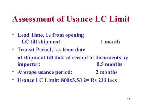 Letter Of Credit Usance Period Letter Of Credit