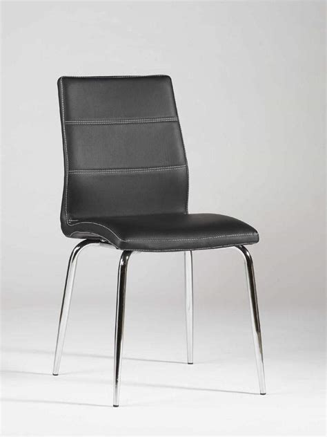 Designer Kitchen Chairs Ultra Contemporary Shaped Dining Chair In Black Leather With Stitching Indianapolis Indiana Chgal