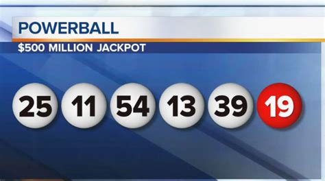winning numbers for 500m powerball jackpot 25 11 54 13