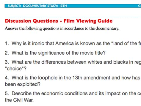 film quiz answers and question 13th discussion questions plus film viewing guide ava