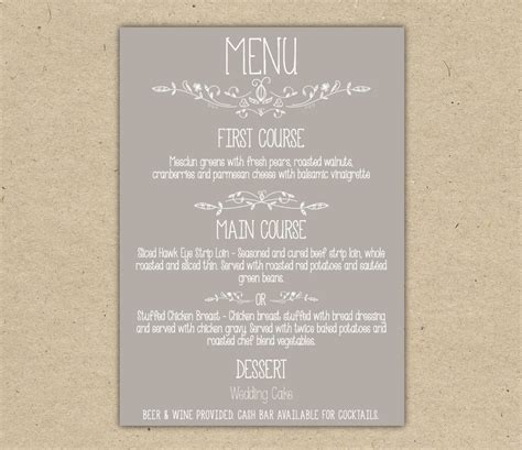 Wedding Menu Template Tryprodermagenix Org Menu Template