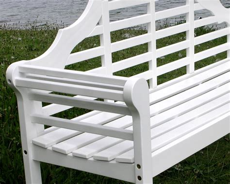 White Garden Bench by Lutyens Acacia Hardwood 3 Seater Bench Painted White