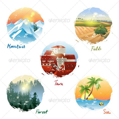 landscape types graphicriver