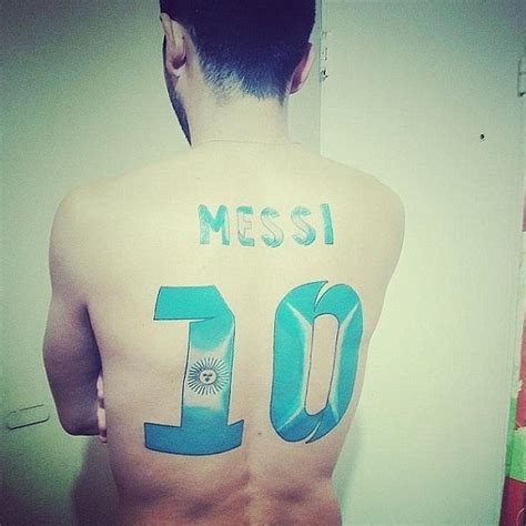 messi third tattoo messi meets super fan with his name and number tattooed
