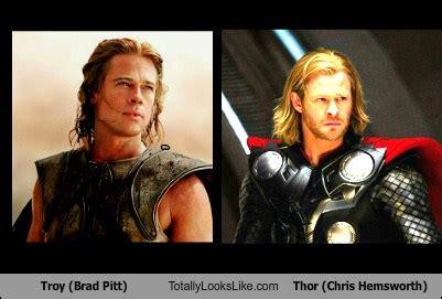 film thor brad pitt troy brad pitt totally looks like thor chris hemsworth
