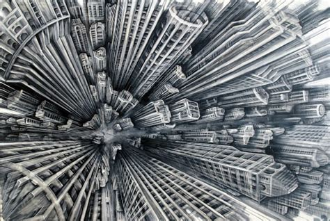 Modern Wall Art by City Scene From An Extreme Perspective Ms Chang S Art