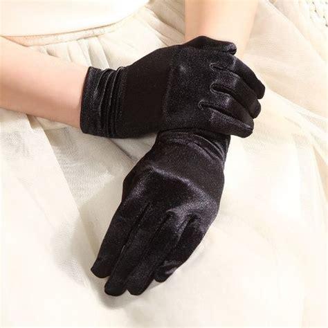 Black Satin Gloves Wrist Length For Ladies (Black)   Buy