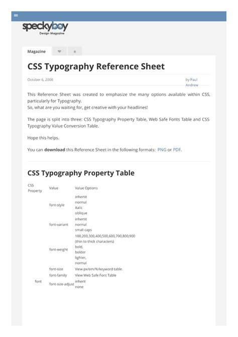 typography css css typography sheet by cheatography free