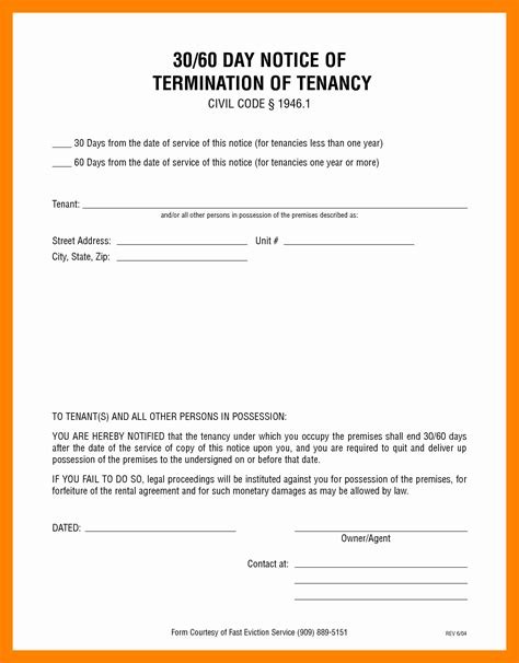6 30 Day Eviction Notice Form Template 3canc 30 Day Eviction Notice Template